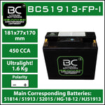 BC Lithium Batteries BC51913-FP-I Batteria Moto al Litio LiFePO4, 1,6 kg, 12V, HJ51913-FP / 51814 / 51913 / 52015 / HG-18-12 - BC Battery Italian Official Website