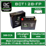 BC Lithium Batteries BCT12B-FP Batteria Moto Litio LiFePO4, 1,1 kg, 12V, YT12B-BS / YT14B-BS / YB16AL-A2/ YT12A-BS - BC Battery Italian Official Website