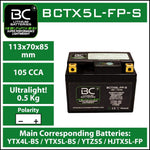 BC Lithium Batteries BCTX5L-FP Batteria Moto al Litio LiFePO4, 0,5 kg, 12V, HJTX5L-FP-S / YTX4L-BS / YTX5L-BS / YTZ5S - BC Battery Italian Official Website