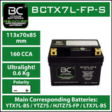 BC Lithium Batteries BCTX7L-FP Batteria Moto al Litio LiFePO4, 0,6 kg, 12V, HJTZ7S-FP / YTX7L-BS / YTZ7S / YTZ8V - BC Battery Italian Official Website