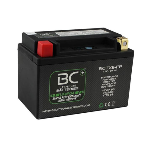 BC Lithium Batteries BCTX9-FP Batteria Moto al Litio LiFePO4, 0,8 kg, 12V, HJTX9-FP / YTX7A-BS / YTX9-BS / YTR9-BS - BC Battery Italian Official Website
