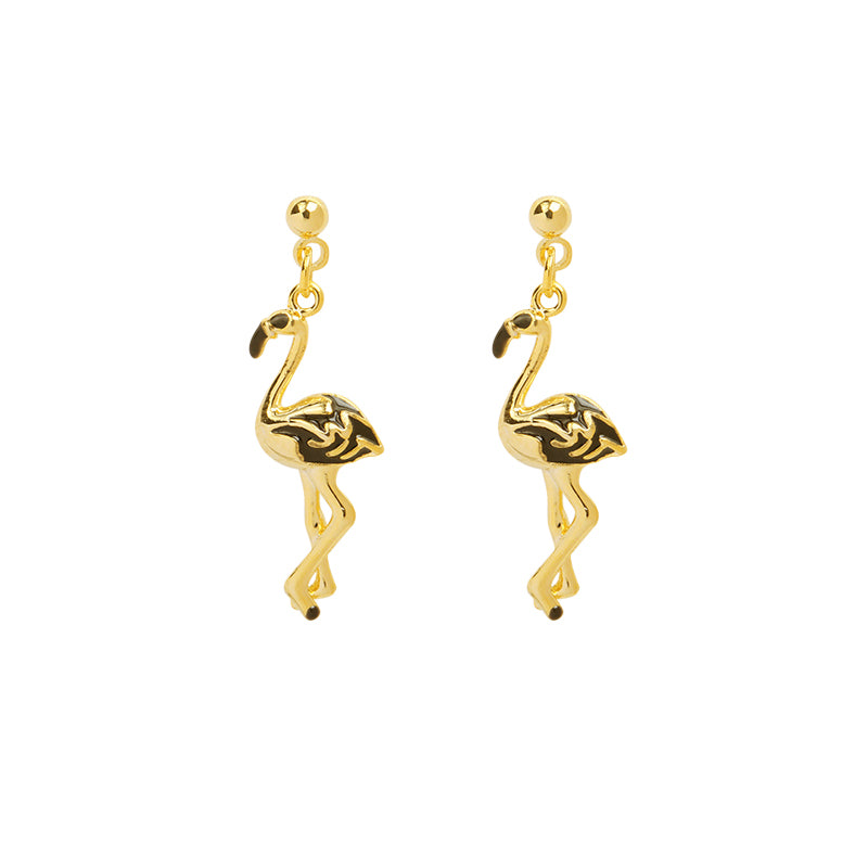 Gold Flamingo Earrings