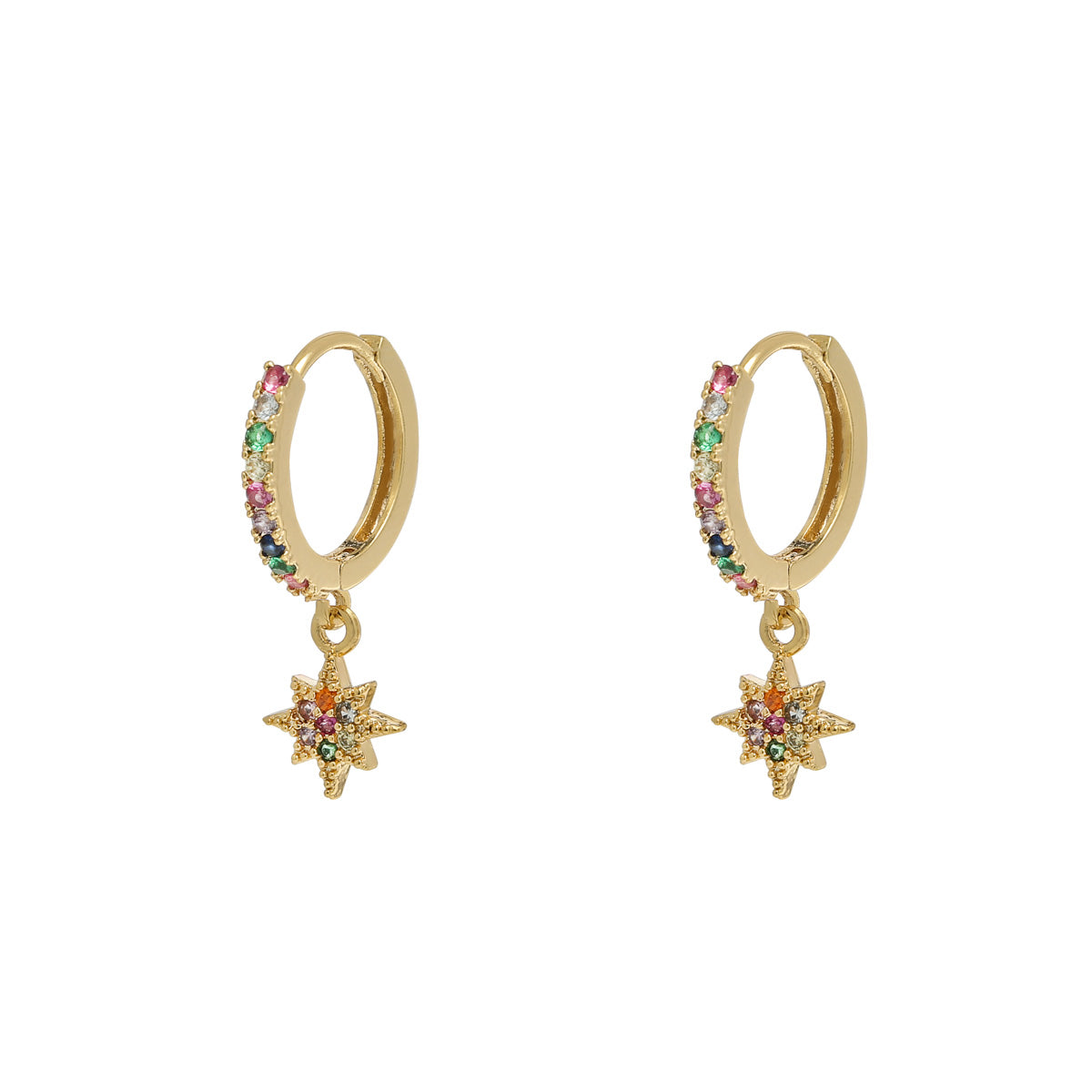 Gold Rainbow Star Earrings