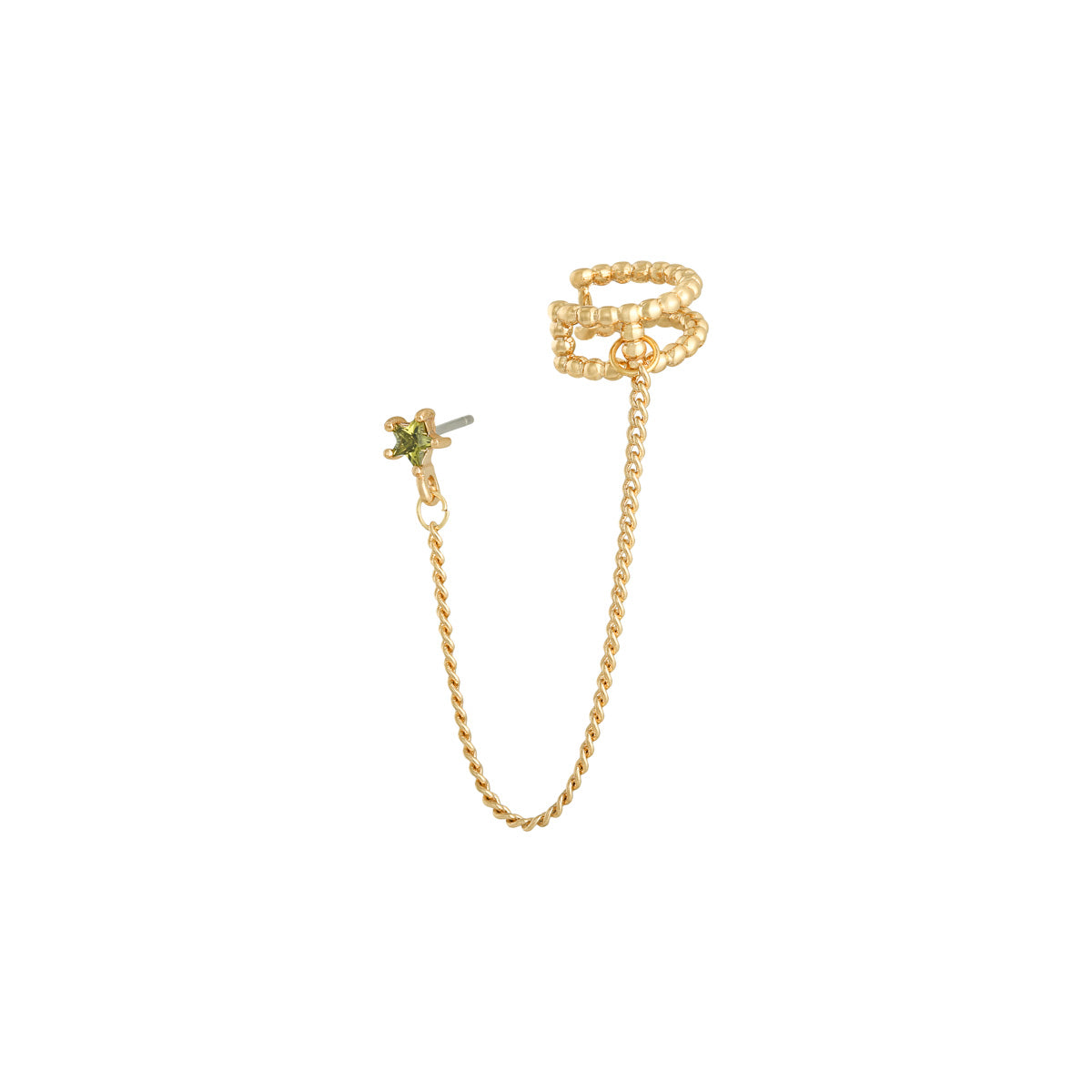 Green Stone Chain Ear cuff - Gold
