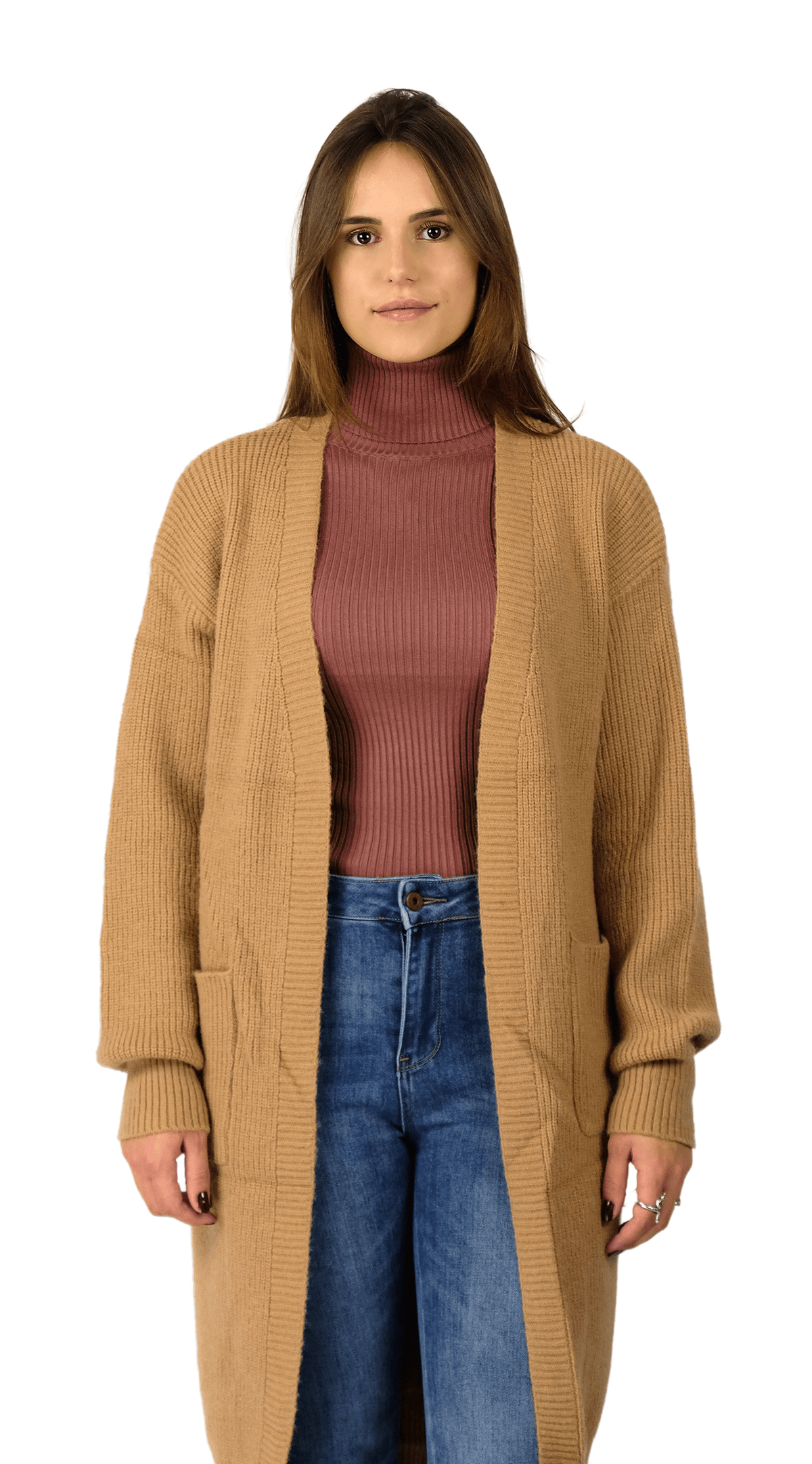 Long Knit Vest Camel - Louisa