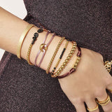 Brown Satin Knot Bracelet - Gold