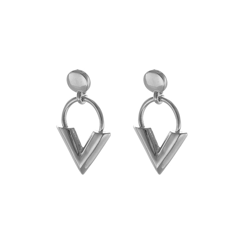 Sweet V Earrings - Silver coloured