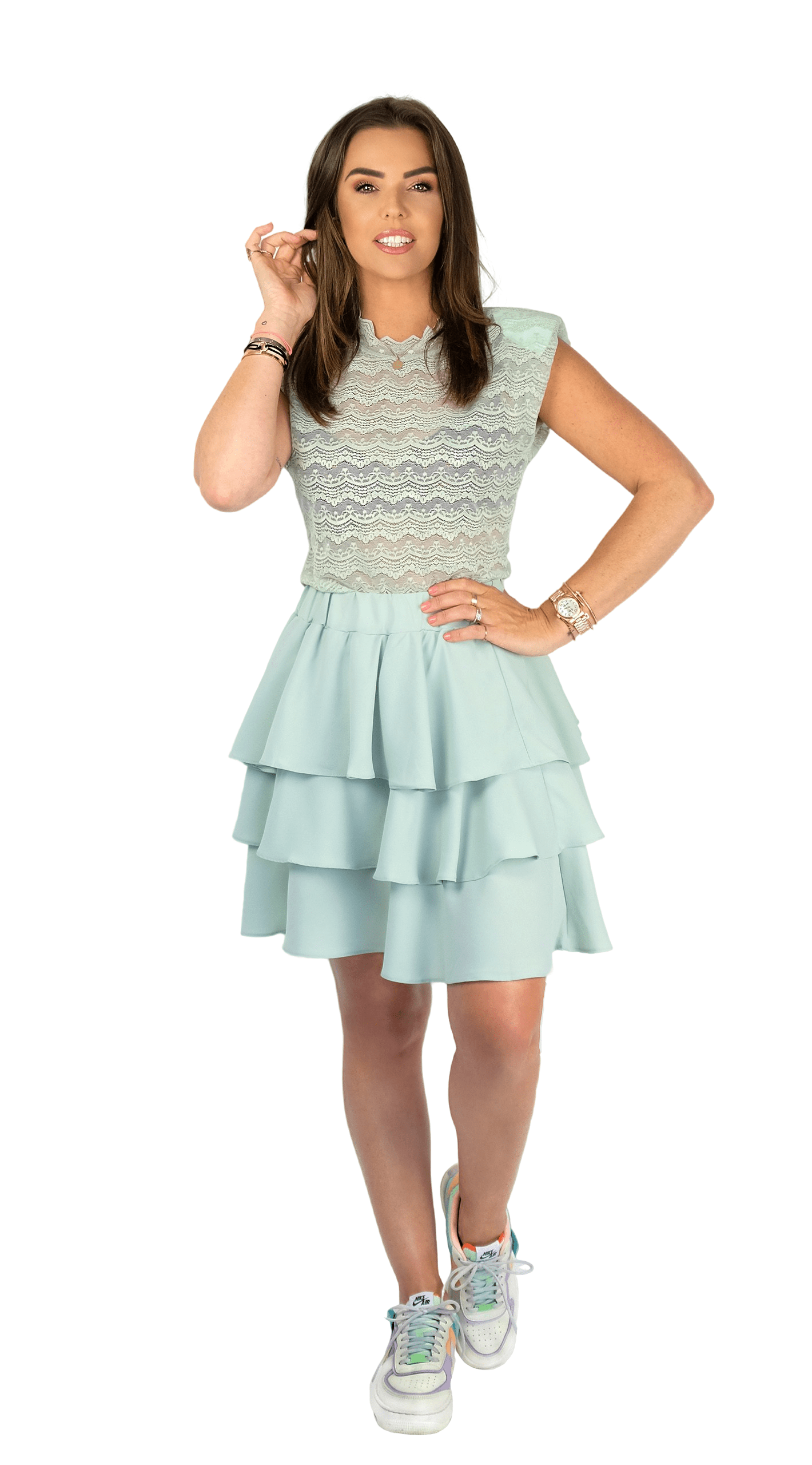 Mint Green Lace Sleeveless Tee - Fiore