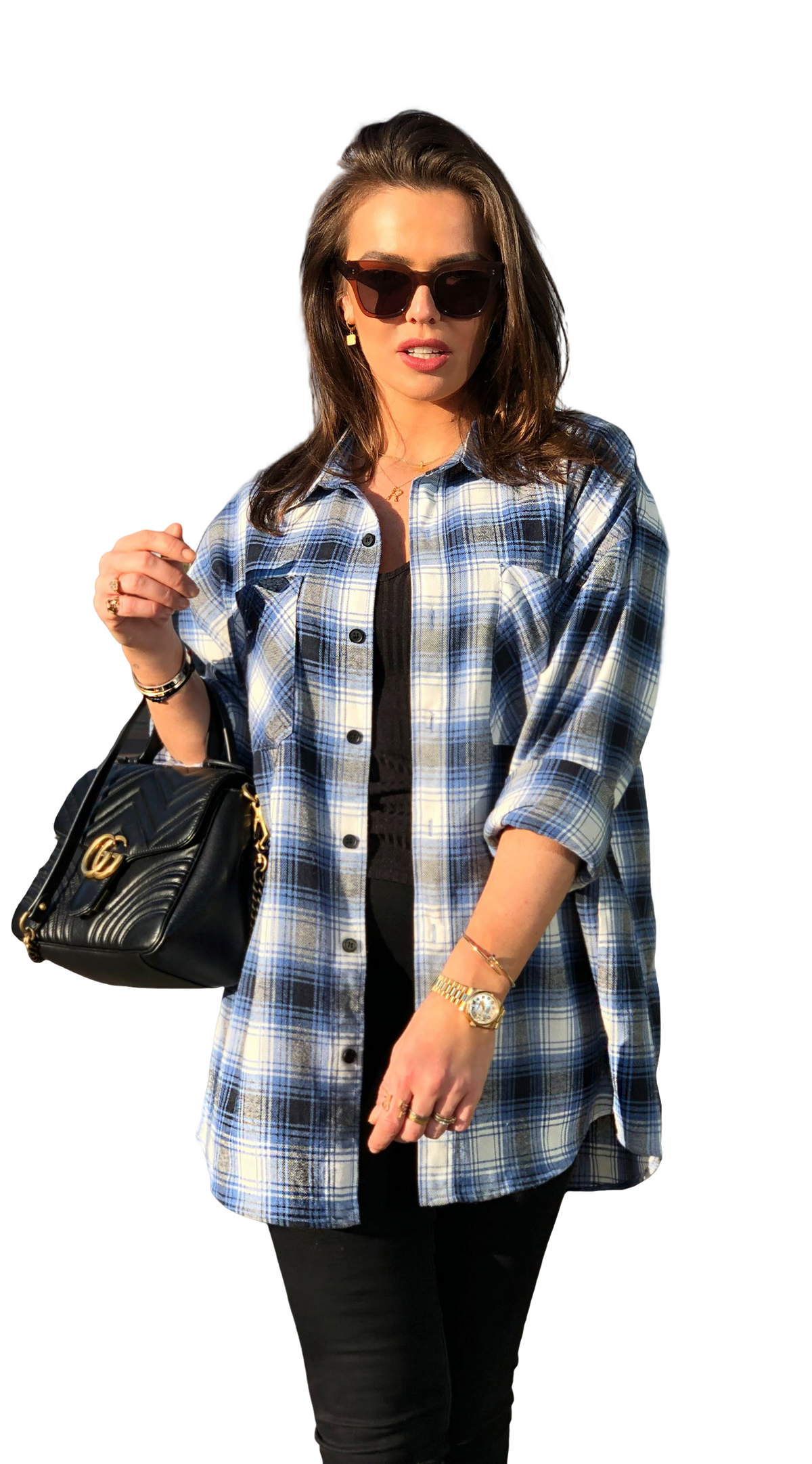 Oversized Checked Shirt Blue