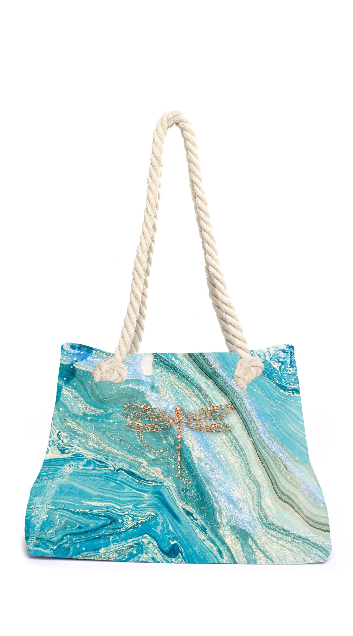 Marble Dragonfly Beach Bag