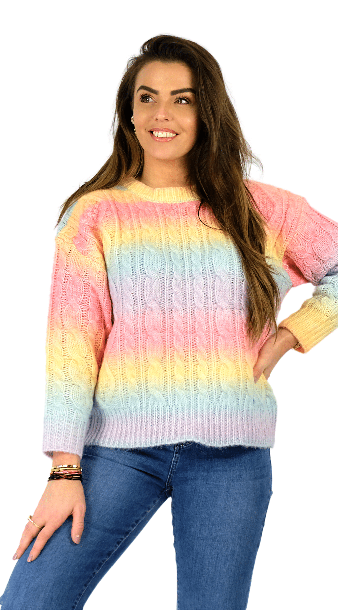 Rainbow Cable Sweater - Dina