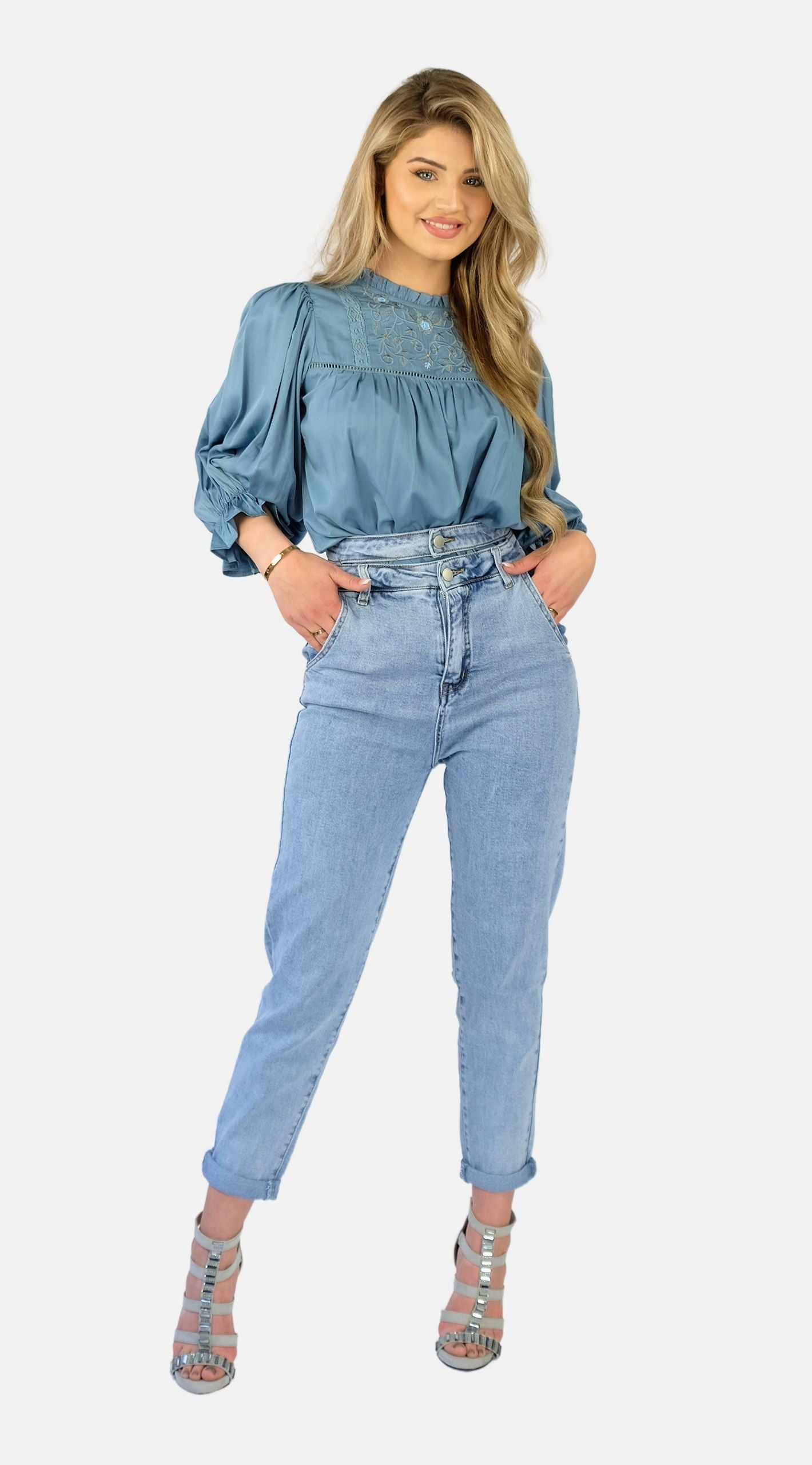 Blue Embroidery Blouse - Roma