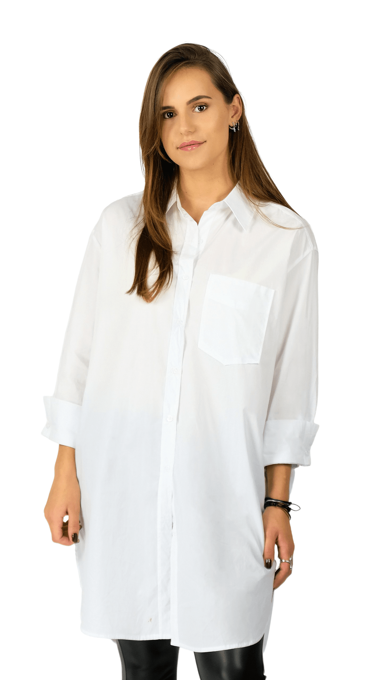 White Oversized Blouse Dress - Rosalie