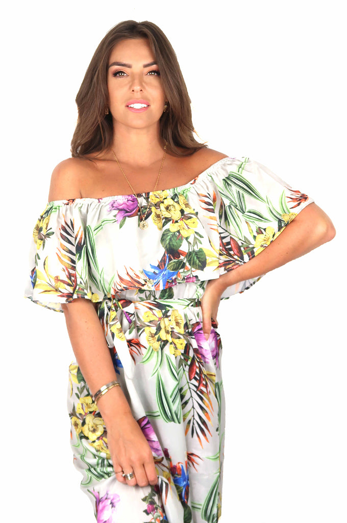 Elegant Flower 'Off Shoulder' Dress