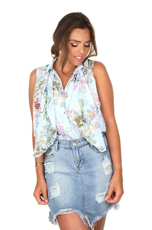 Blue Flower Blouse