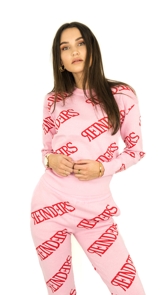 Reinders Sweater All Over Print - Pink