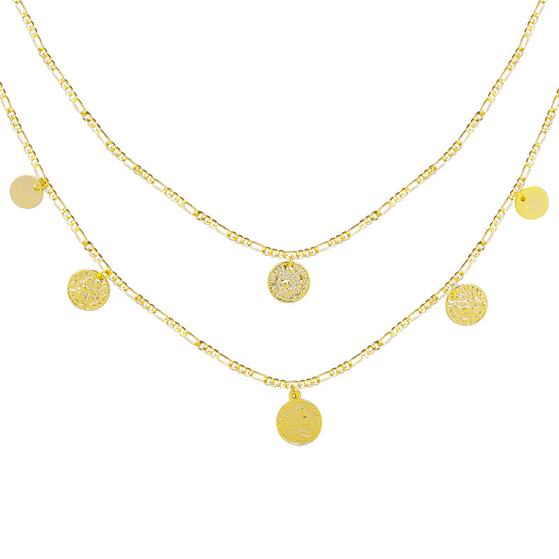Multi Coin Double Necklace Gold