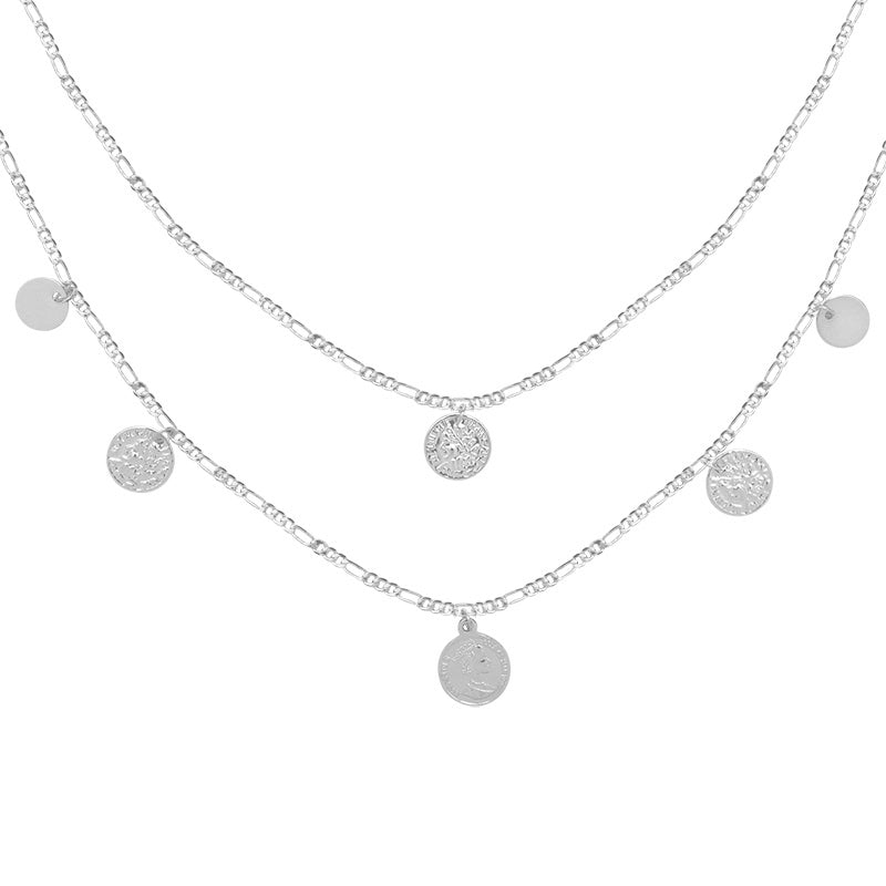 Multi Coin Double Necklace Silver