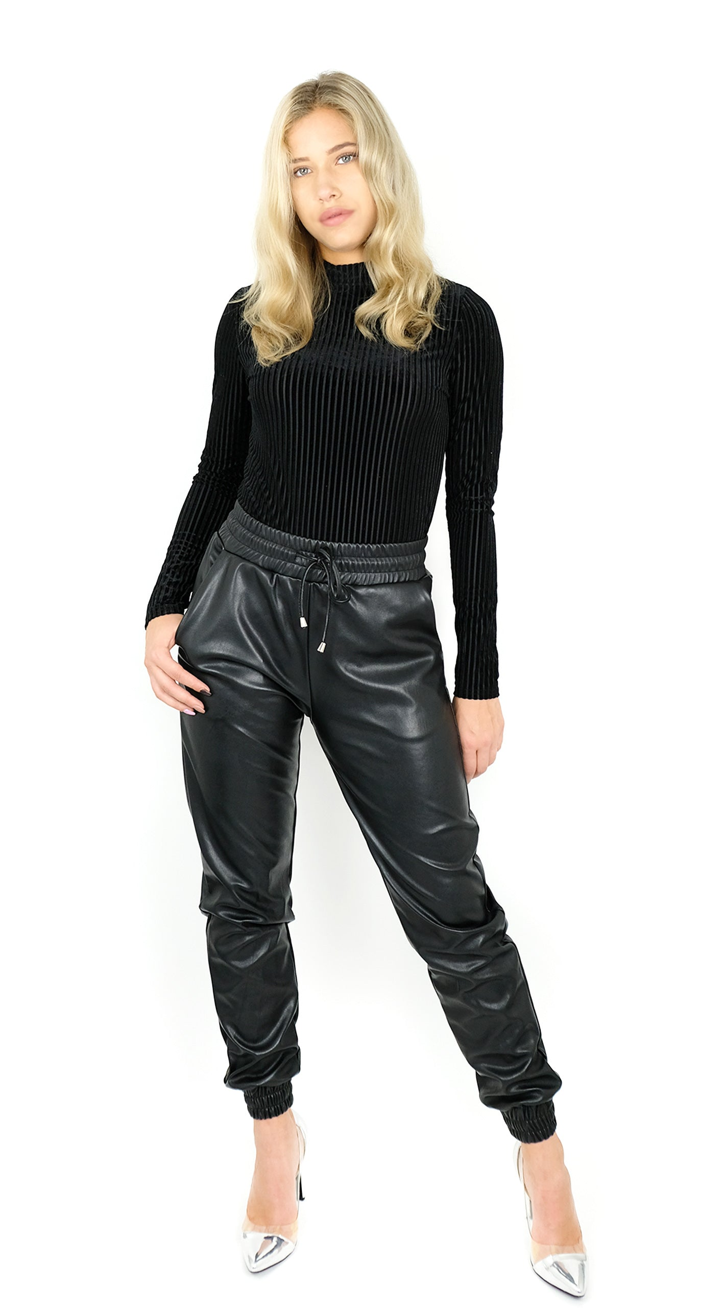 BUYLAU | LA SISTERS | Faux Leather Jogging Pants Black