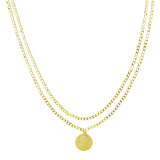 Double Coin Necklace Gold