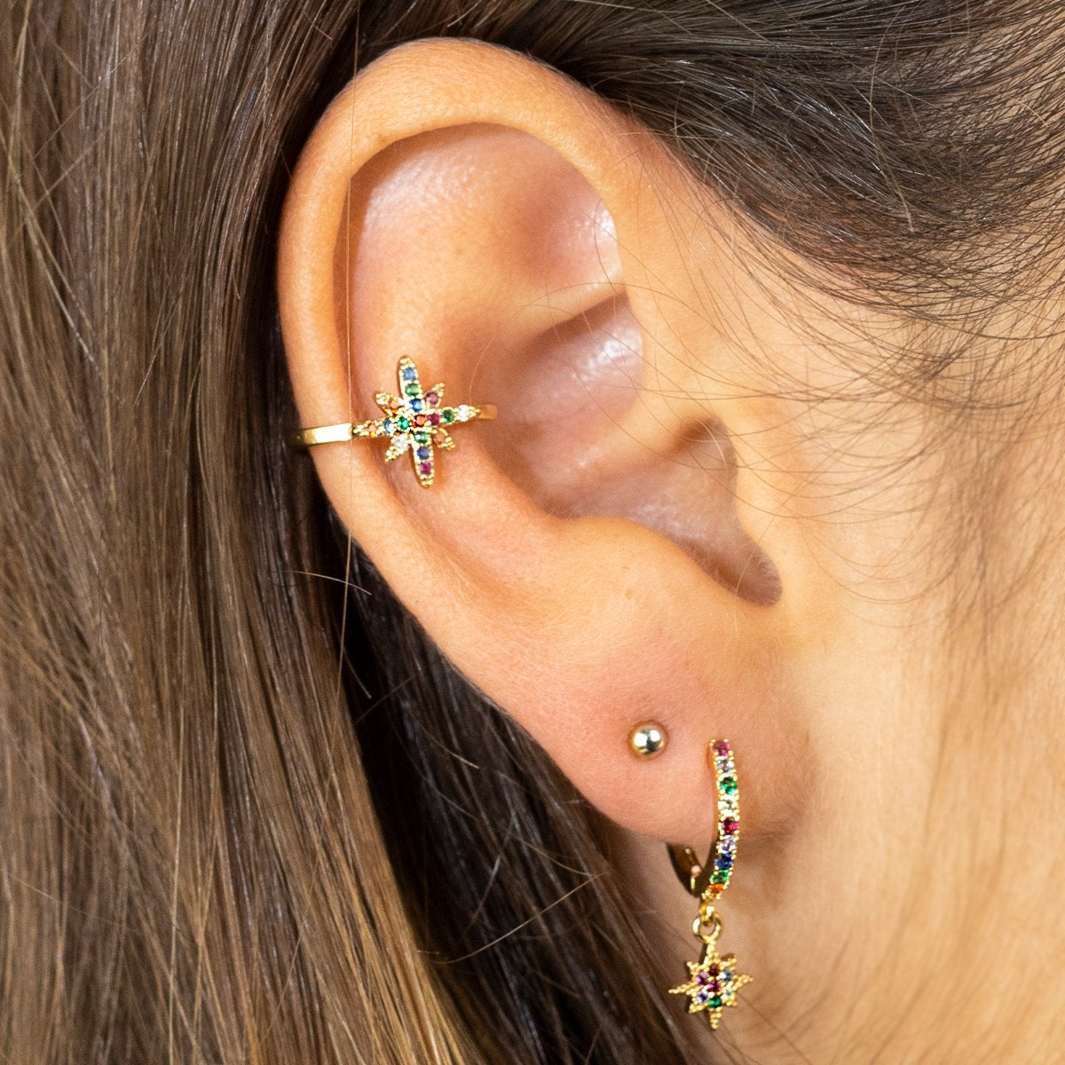 Gold coloured Rainbow Star Ear-cuff