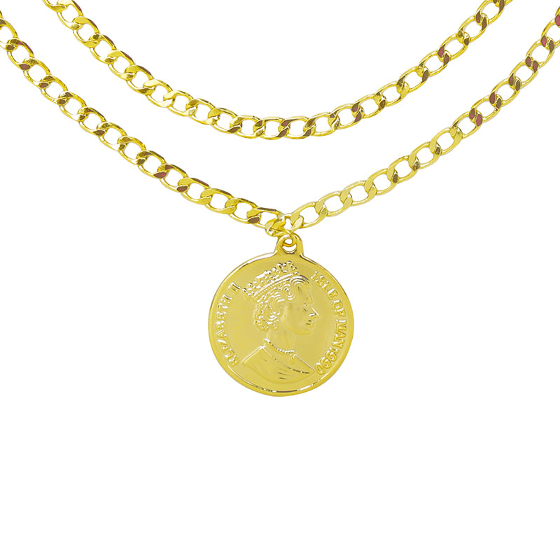 Gold Double Coin Necklace