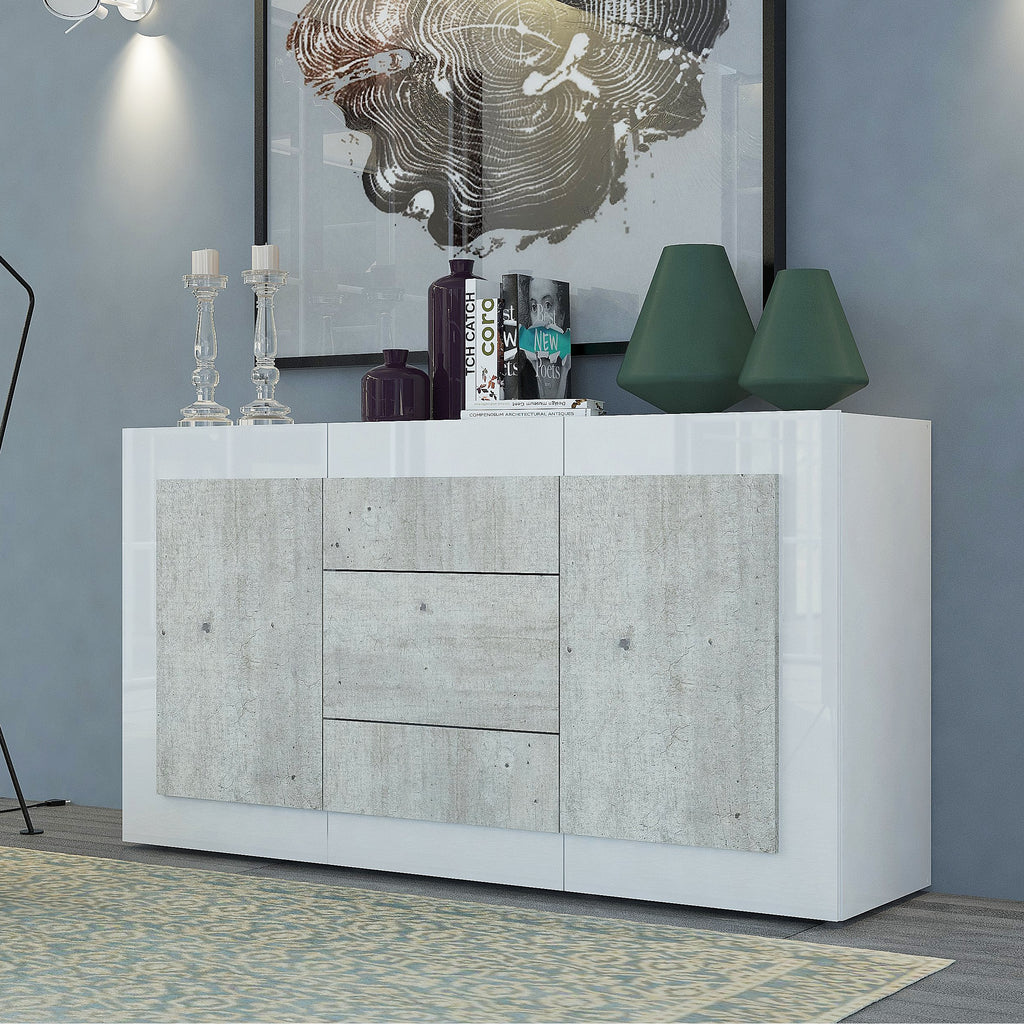 ORIZZONTI 3 Drawers 2 Cabinets Sideboard, Modern Cement Finish - Furniture.Agency