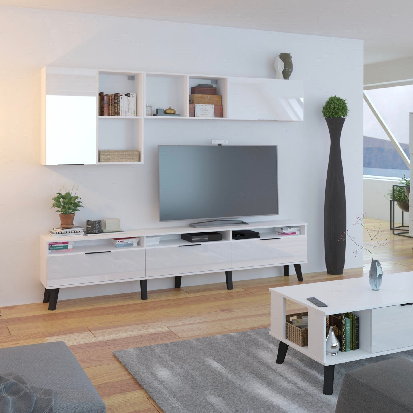 Sven High Gloss TV Stand, for TVs up to 88""
