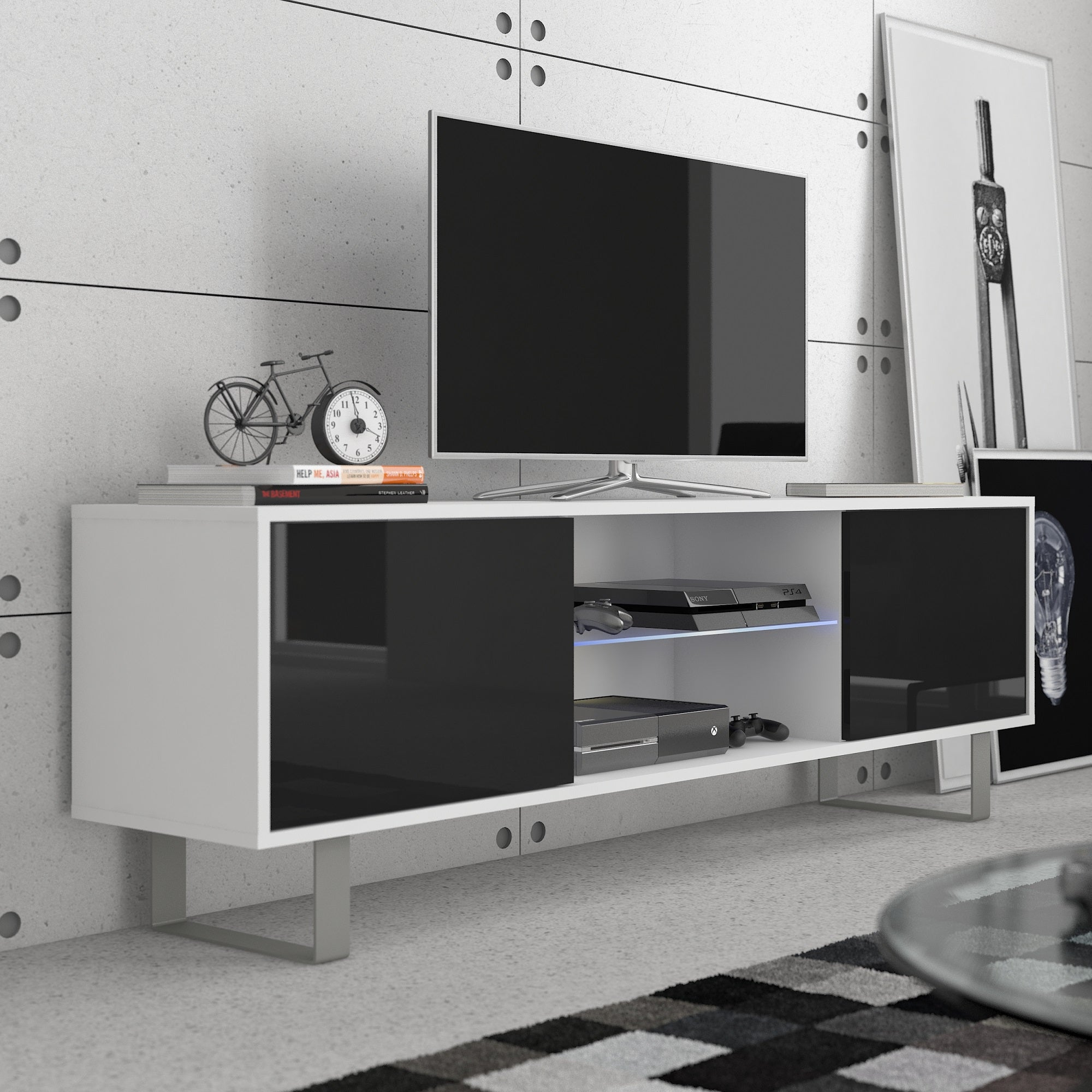 King High Gloss TV Stand, Multiple Finishes