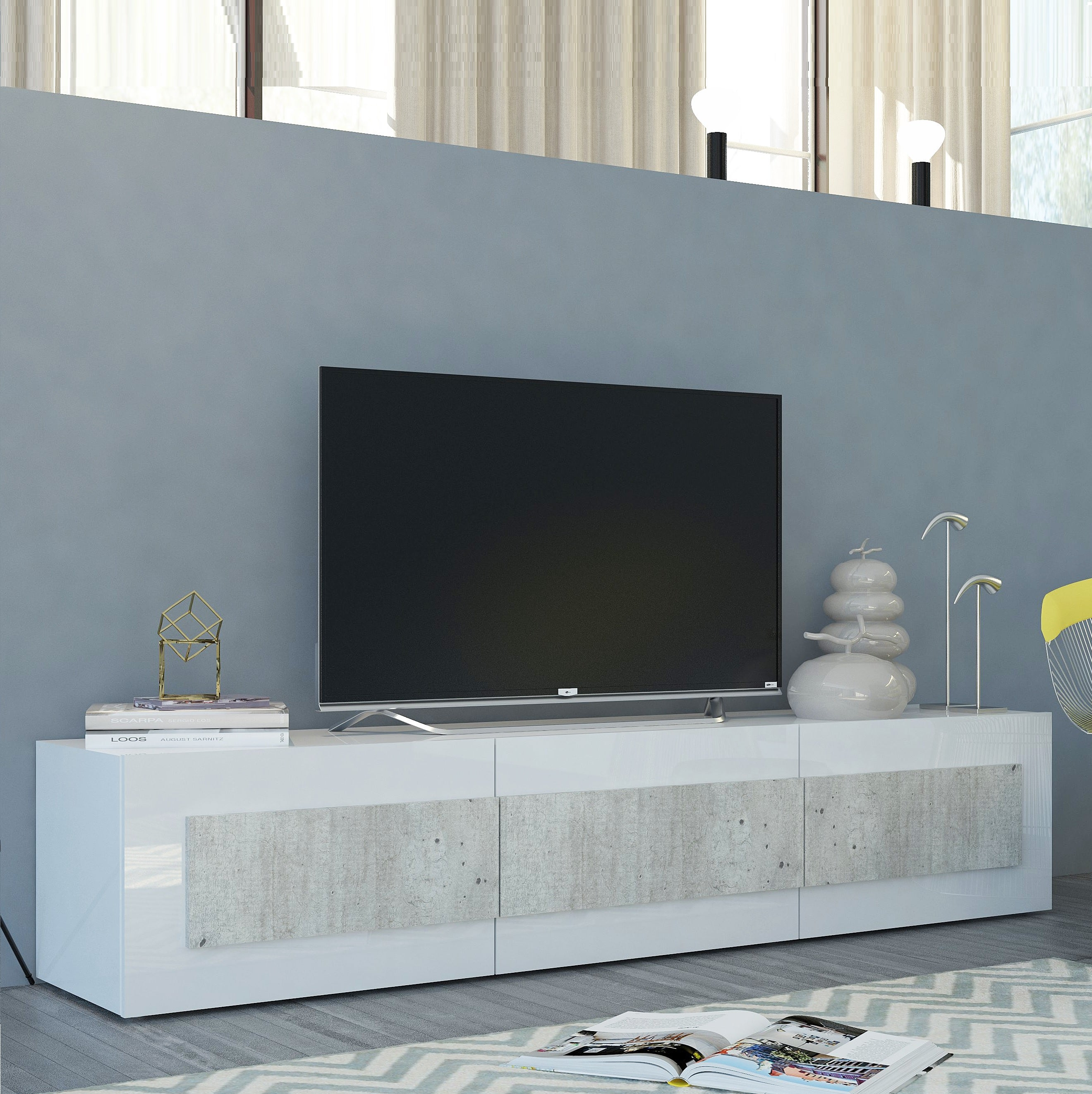 ORIZZONTI Modern Cement Finish TV Stand