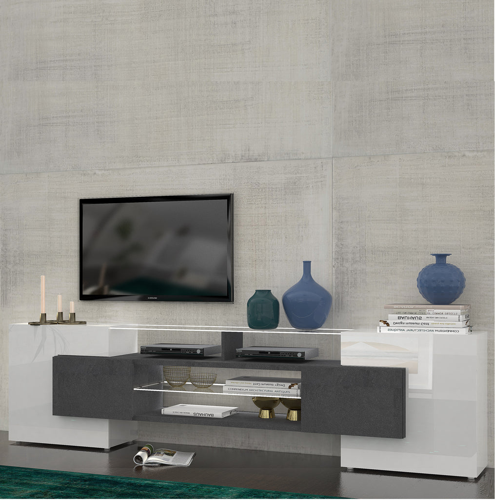 "SLAVE 4 Cabinets High Gloss TV Stand, for TVs up to 88"" - Furniture.Agency"