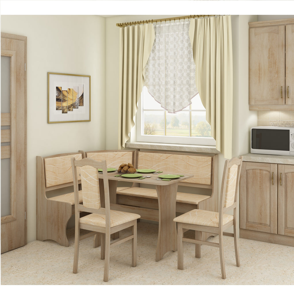 Breakfast Nook 4-Piece Corner Dining Set, Multiple Finishes - Furniture.Agency