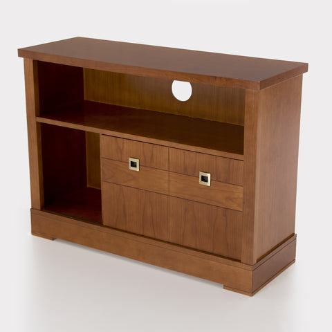 Ellen 2 Sliding Doors Cabinets 2 Drawers Solid Wood TV Stand