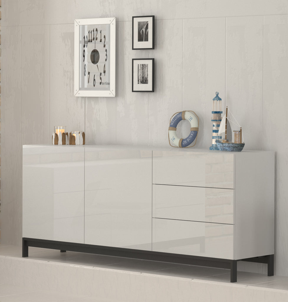 METIS 3 Drawers 2 Cabinets Sideboard With Metal Base - Furniture.Agency