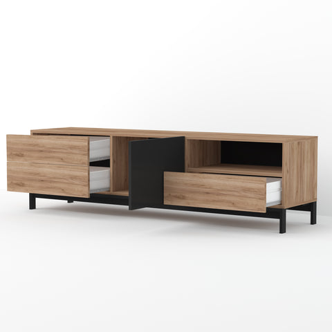 Metis Large Walnut&Black Gloss TV Stand, for TVs up to 75""