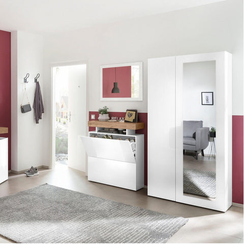TREVISO white Gloss 2 Doors Coat Armoire With Mirror