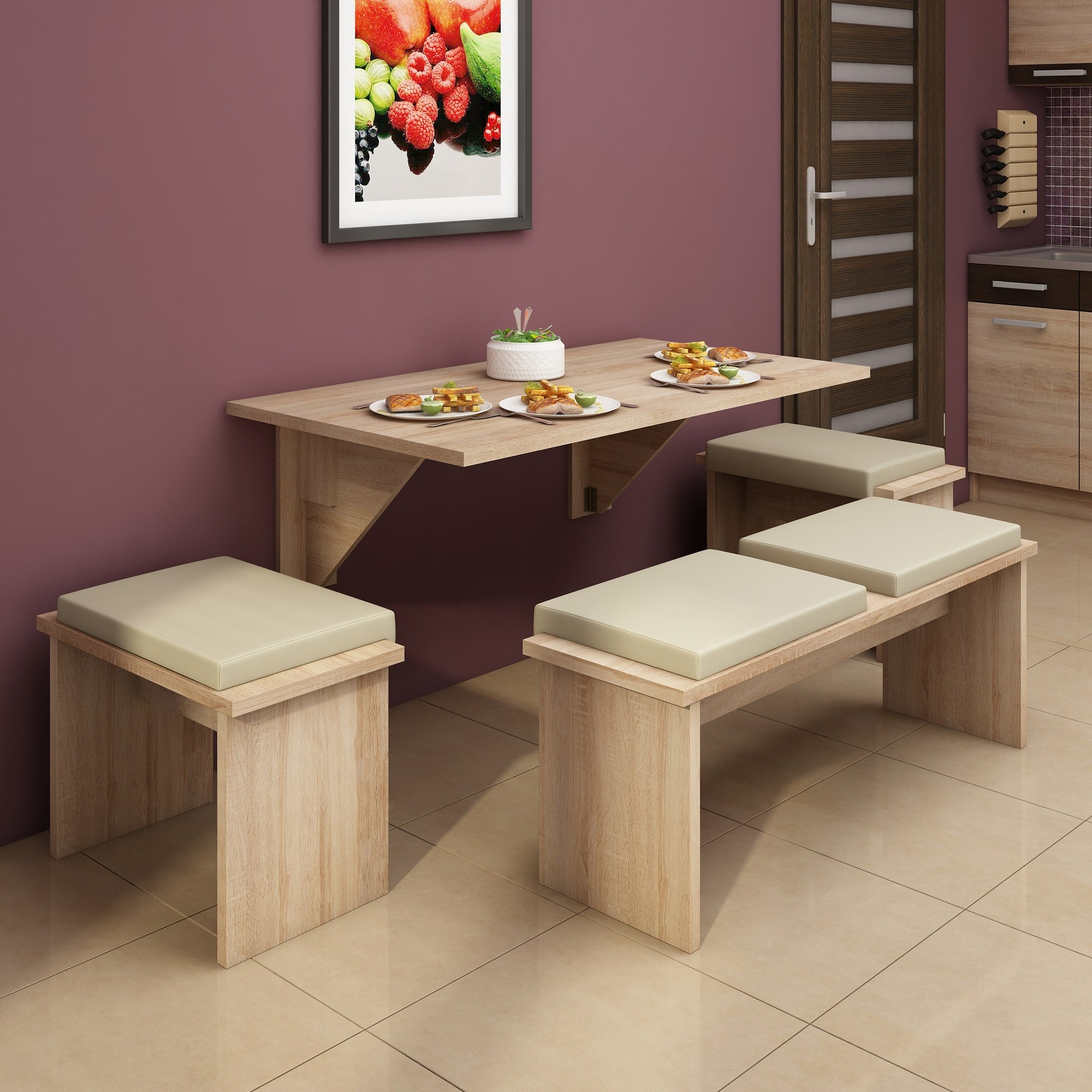 Expert F Wall-Mounted Drop Leaf Dining Table