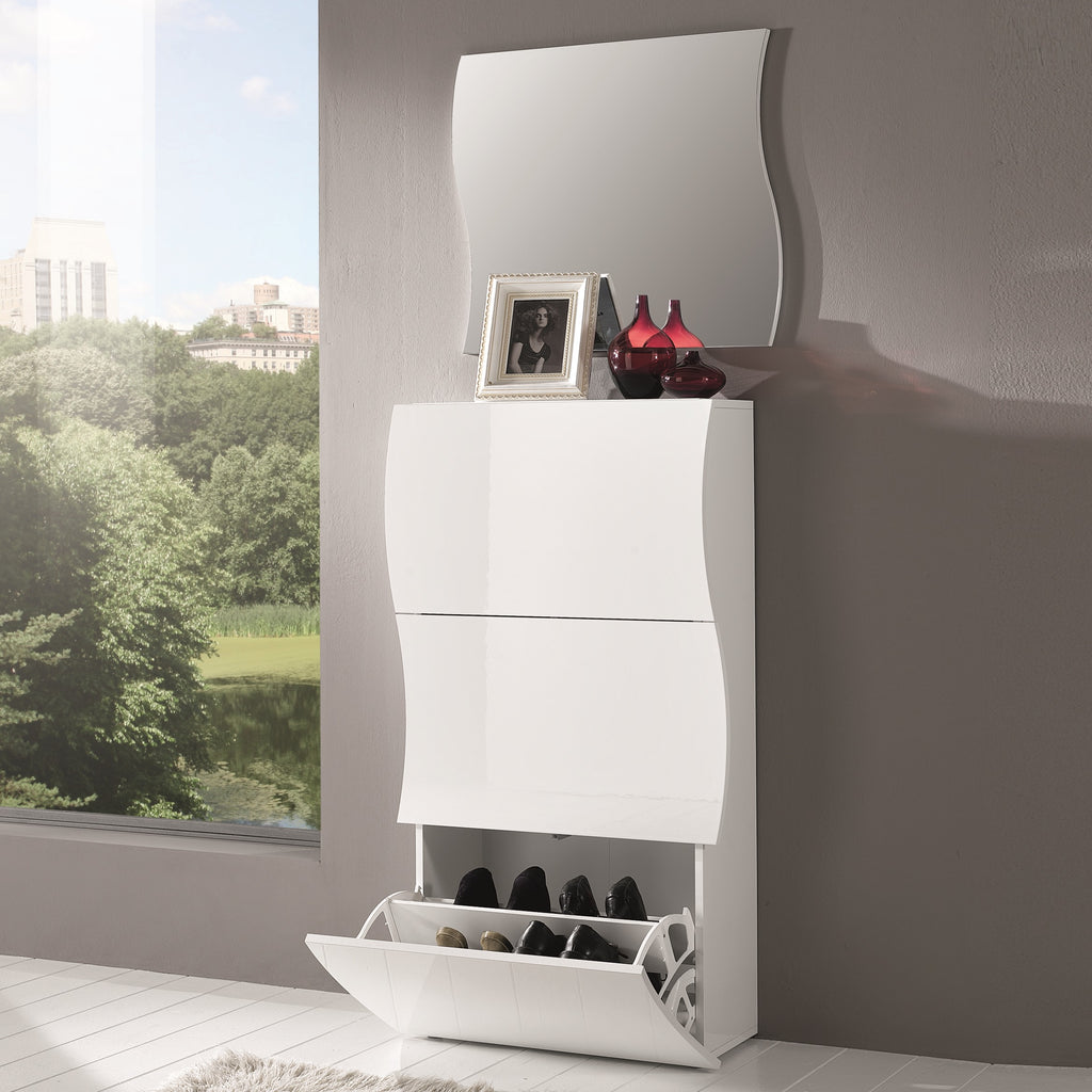 Onda White Gloss 3 Doors Shoe Cabinet - Furniture.Agency