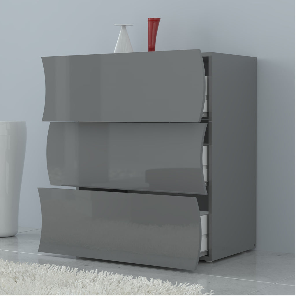 Onda High Gloss 3 Drawers Dresser - Furniture.Agency