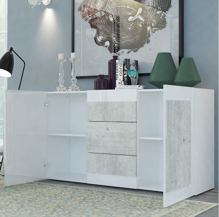 ORIZZONTI 3 Drawers 3 Cabinets Sideboard, Modern Cement Finish - Furniture.Agency