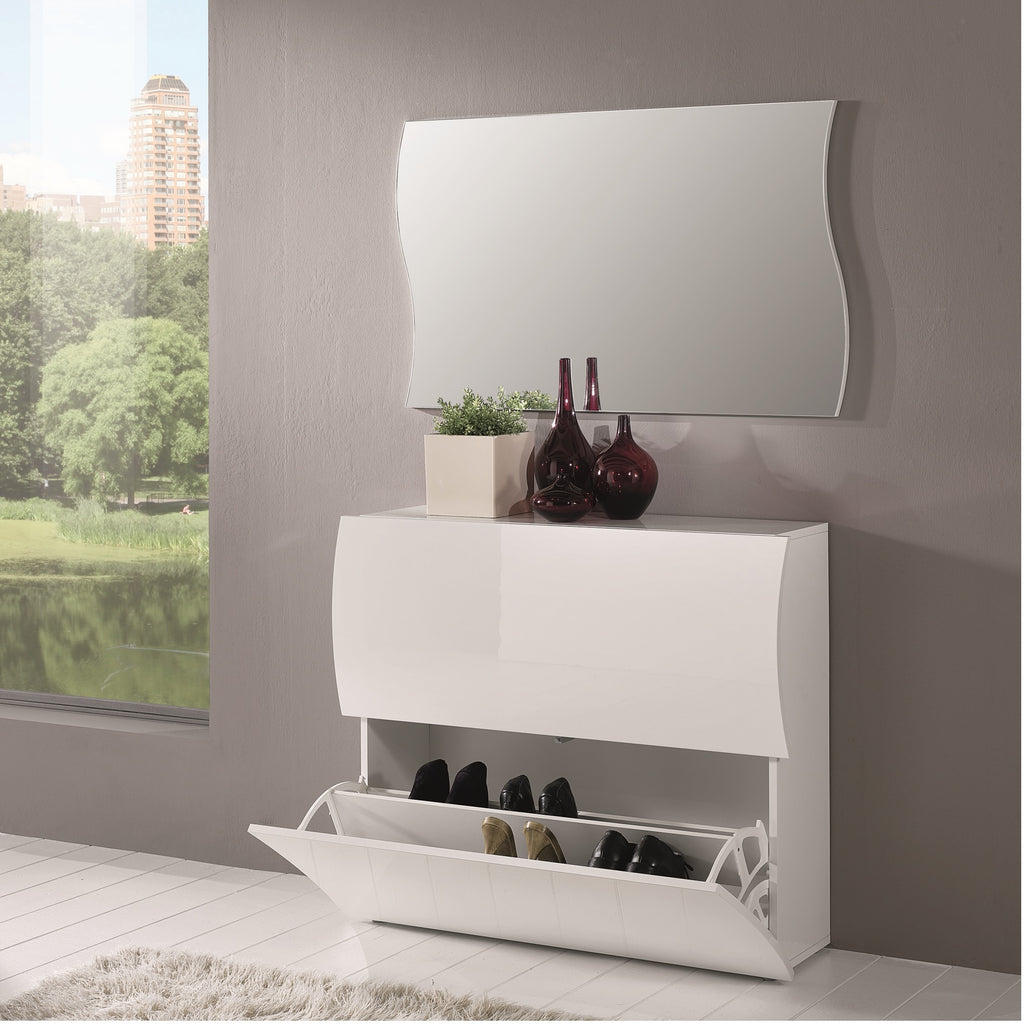 Onda White Gloss 2 Doors Shoe Cabinet - Furniture.Agency