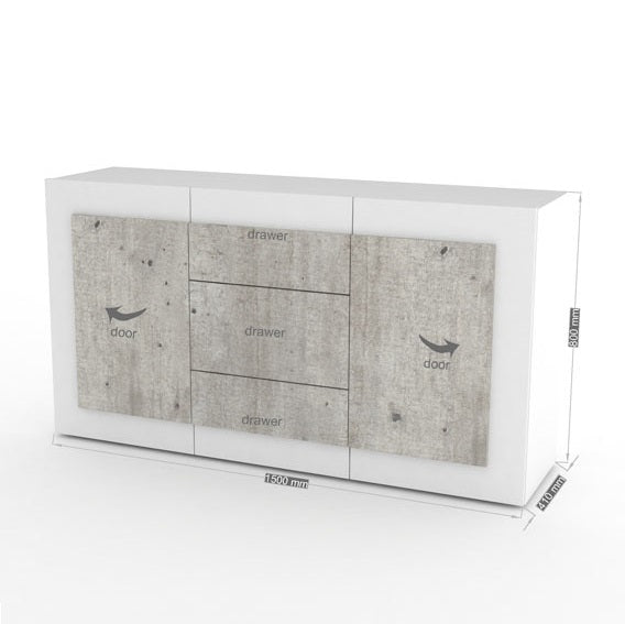ORIZZONTI 3 Drawers 2 Cabinets Sideboard, Modern Cement Finish