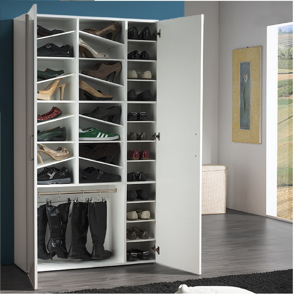 Girl White Gloss 28 Shelf Shoe Cabinet - Furniture.Agency