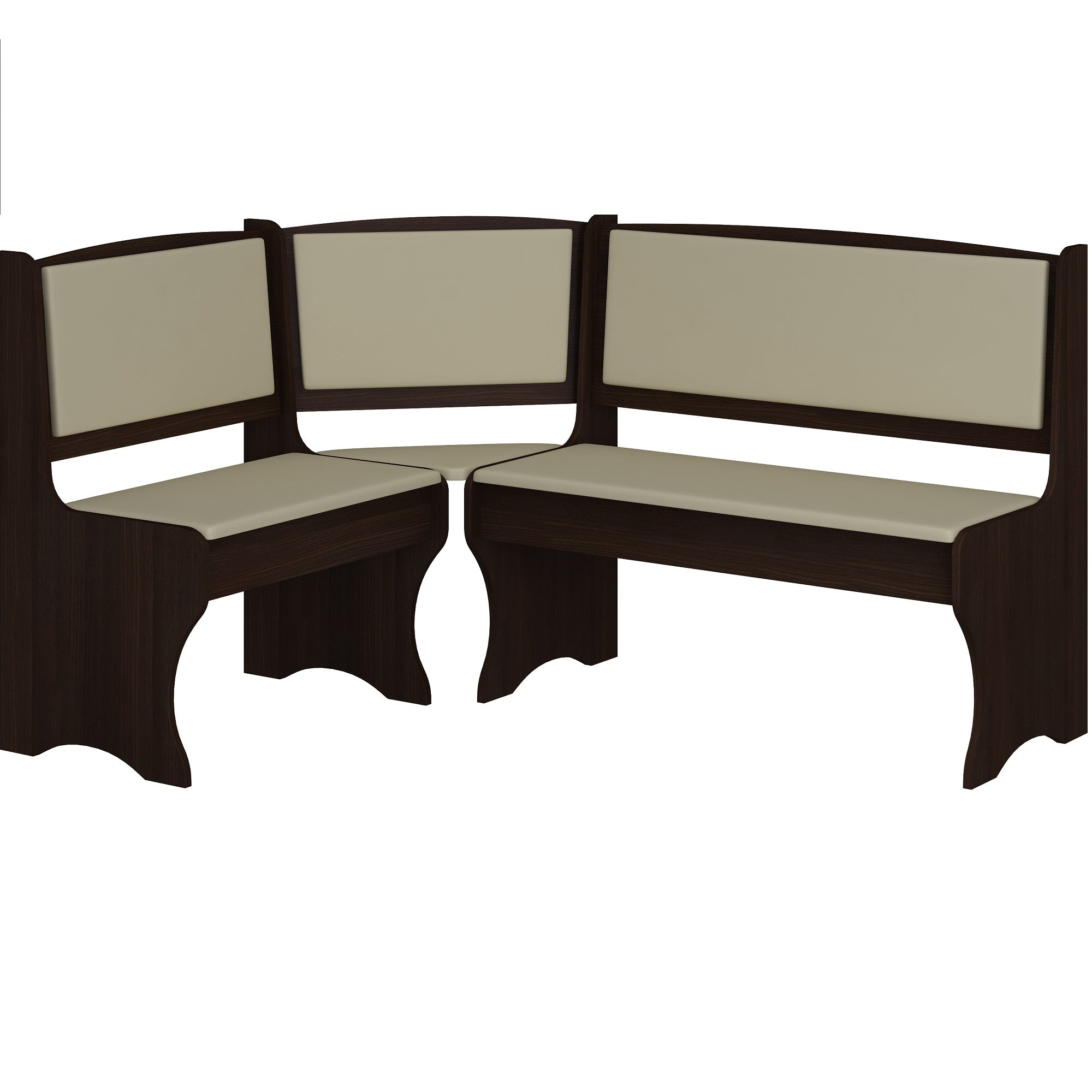 Breakfast Nook 4-Piece Corner Dining Set, Multiple Finishes