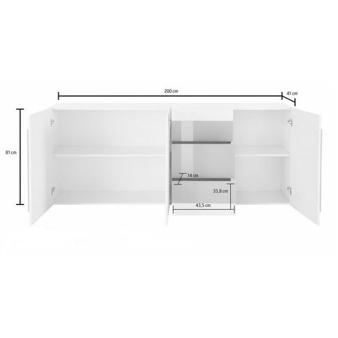 ORIZZONTI 3 Drawers 3 Cabinets Sideboard, Modern Cement Finish