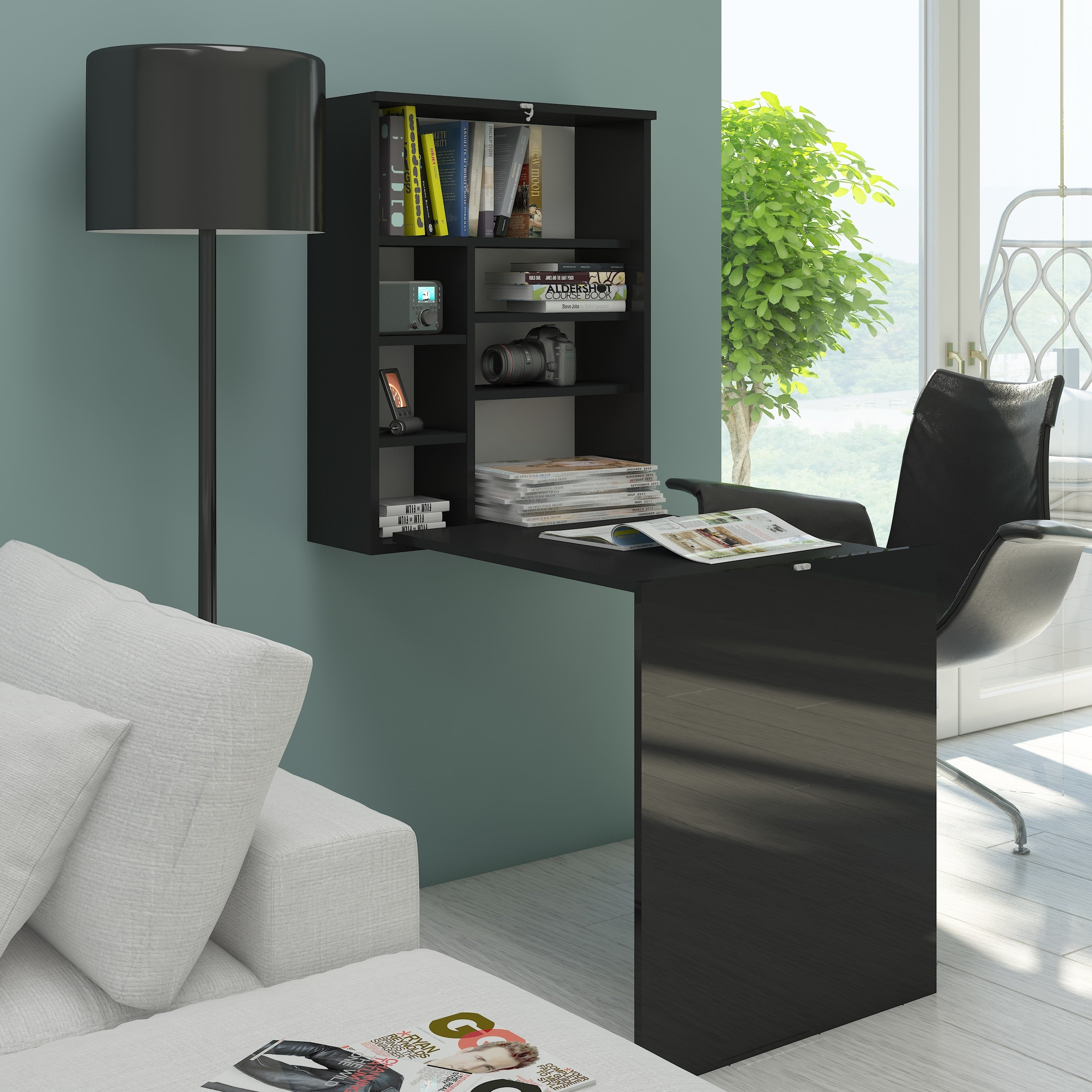 Hide Fold Out Wall Mount Desk with Hutch