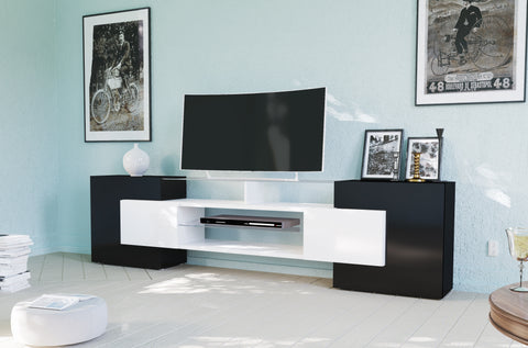 SLAVE 4 Cabinets High Gloss TV Stand, for TVs up to 88""