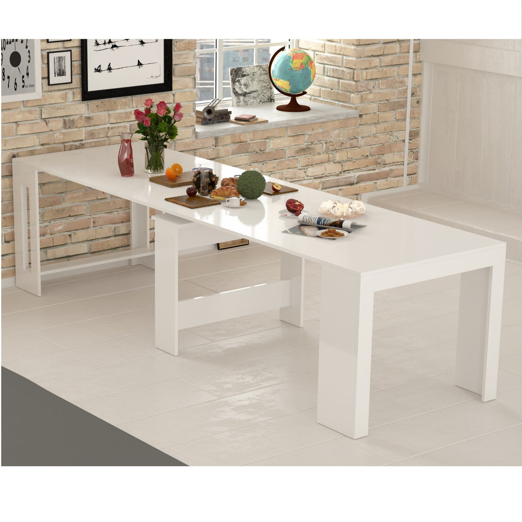 PRATIKA White Gloss Pull Out  Dining Table - Furniture.Agency