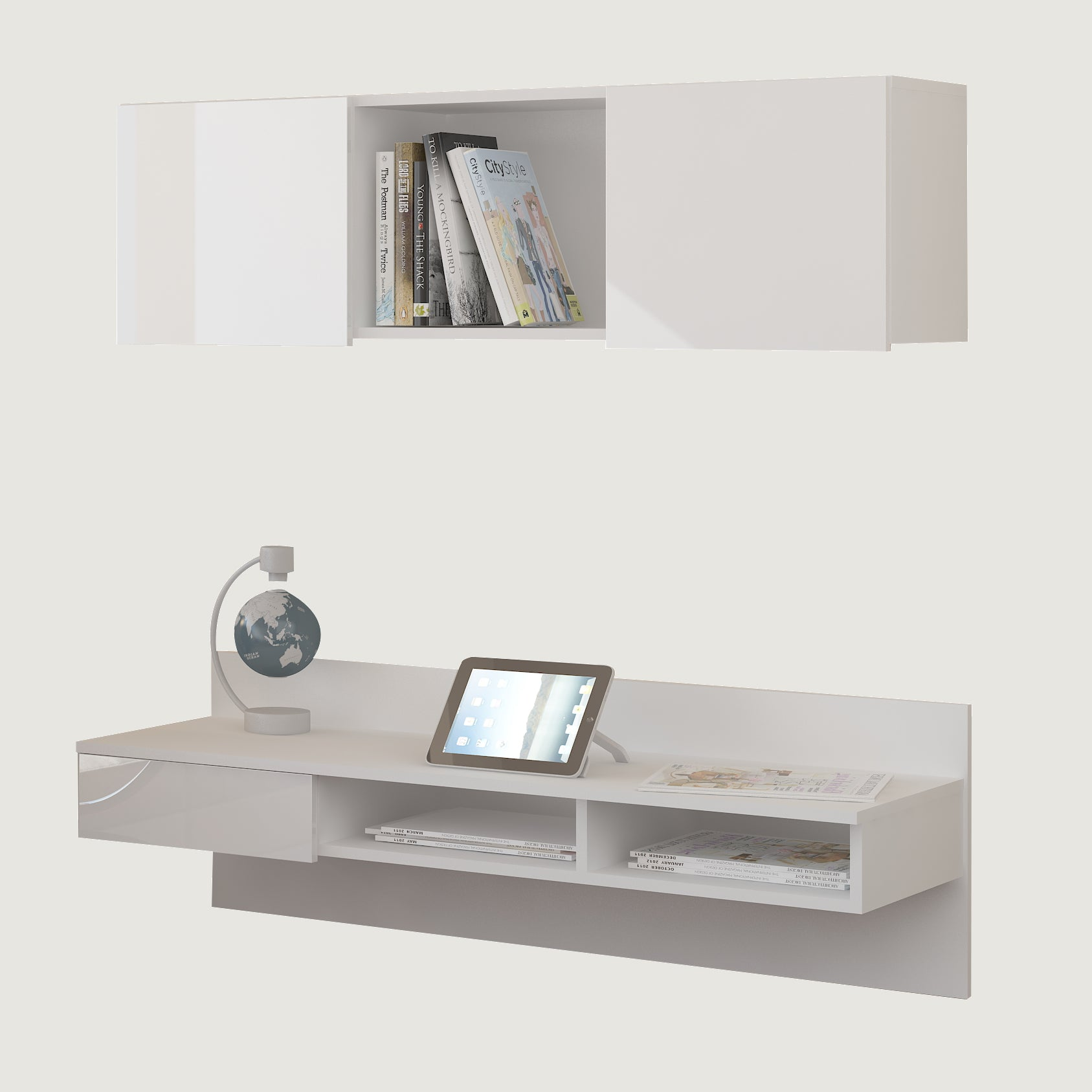 Uno Wall-Mounted Floating Home Office Set, Multiple Finishes
