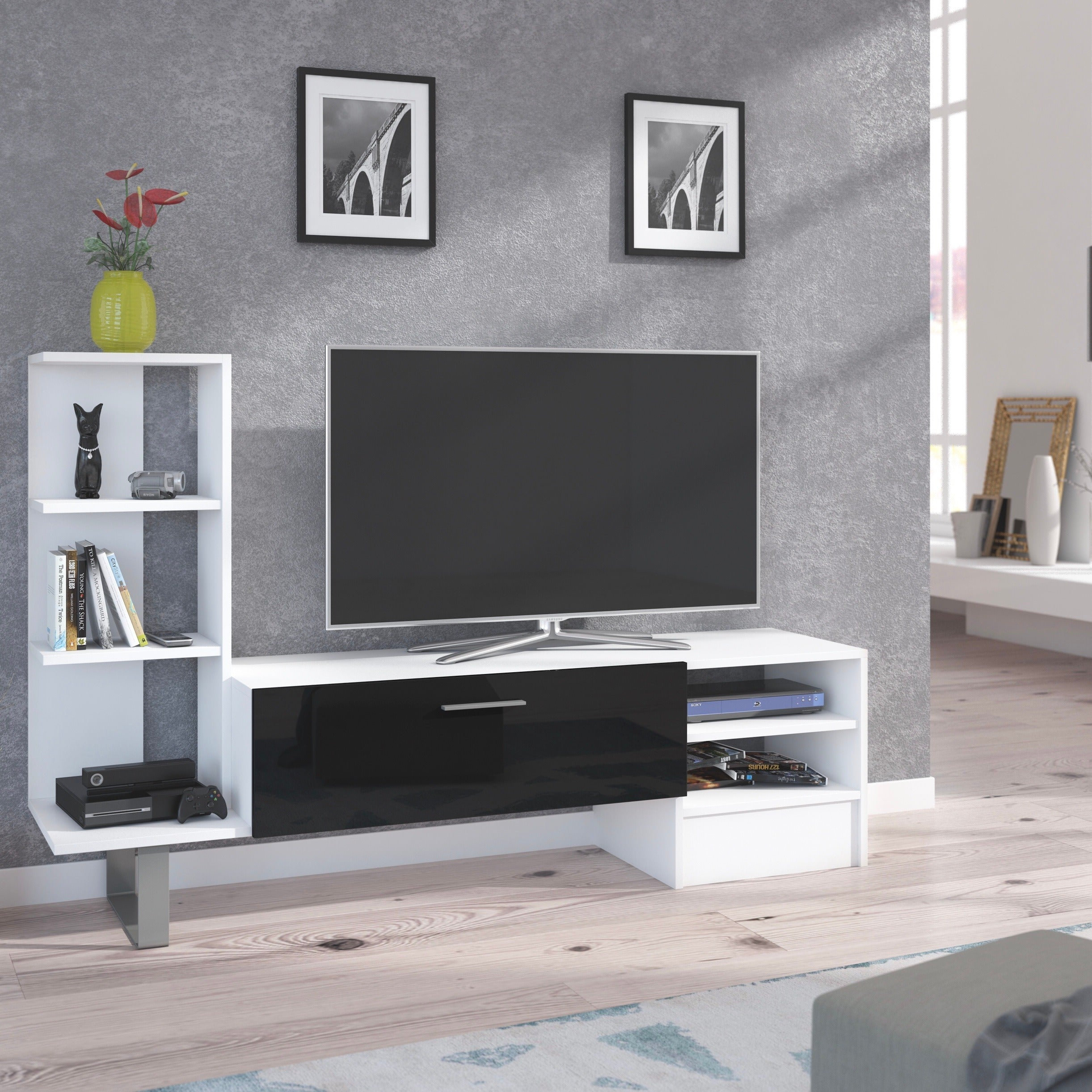 York TV Stand / Entertainment Center for TV up to 55""